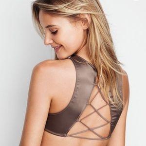 Victoria Secret M Satin Lace-Up High Neck Bralette